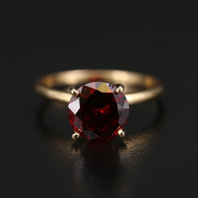 14K Garnet Solitaire Ring