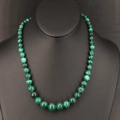 Graduated Malachite Beaded Necklace
