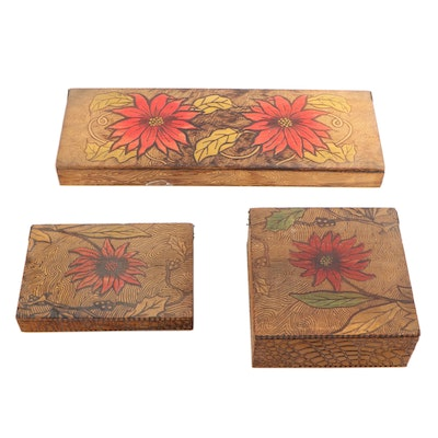 Art Nouveau Pyrography Wooden Vanity and Handkerchief Boxes, Early 20th Century