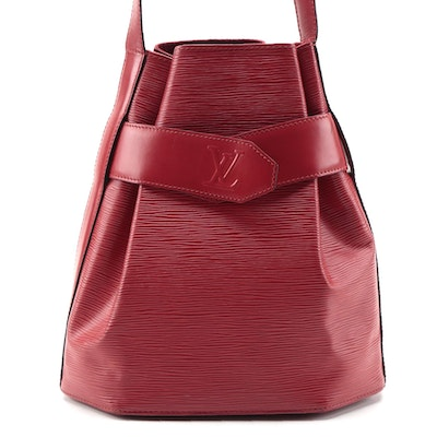 Louis Vuitton Sac D'Epaule PM Bag in Castilian Red Epi and Smooth Leather