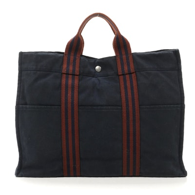 Hermès Fourre Tout MM Tote in Navy and Rust Canvas