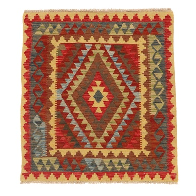 3'3 x 3'9 Handwoven Afghan Kilim Accent Rug