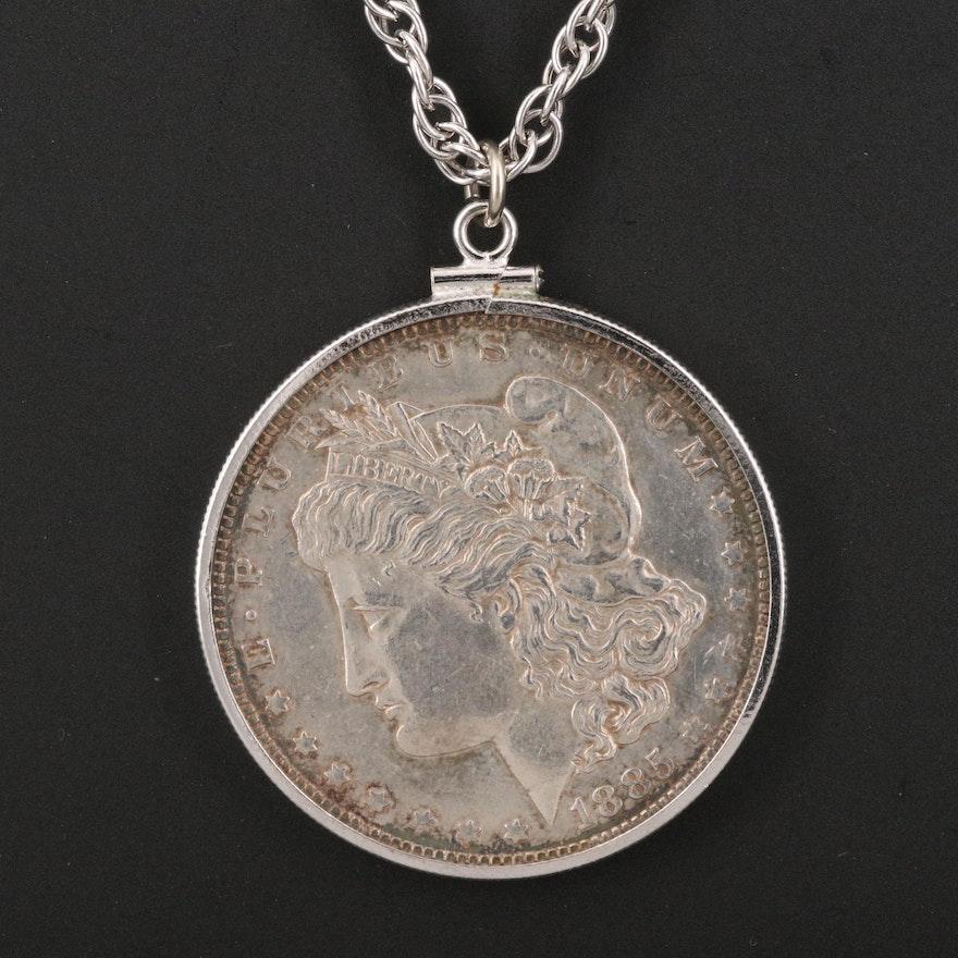 1885-O Morgan Silver Dollar Pendant Necklace