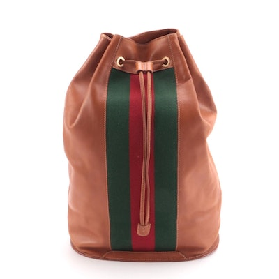 Gucci Web Stripe Drawstring Backpack in Brown Leather