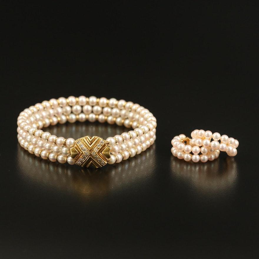 18K Pearl Multi-Row Bracelet and Half Hoop Earring Set