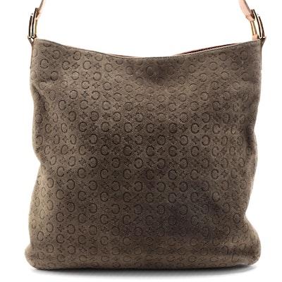 Celine Macadam Suede and Leather Shoulder Bag