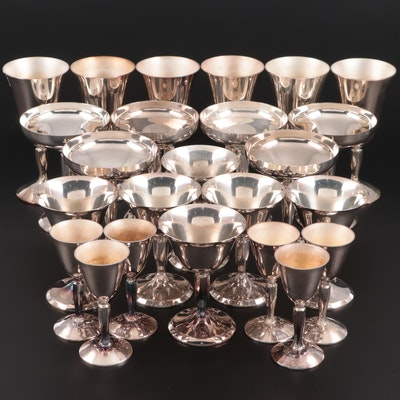 Plator Silver Plate Water Goblets, Champagne Coupes, Sherbets, Cordial Glasses