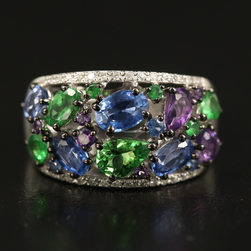EFFY Sapphire, Tsavorite and Amethyst Cluster Ring with Diamond Accents