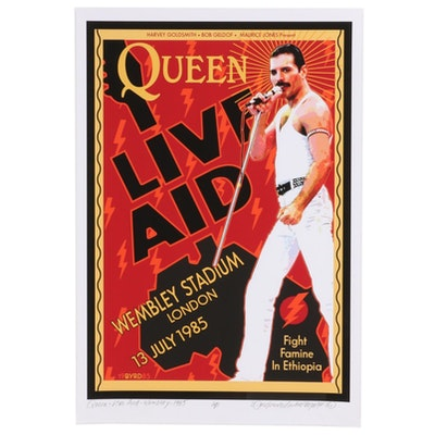 "David Edward Byrd Giclée ""Queen Live Aid at Wembley Stadium July 1985,"" 2020"