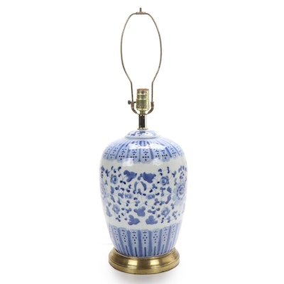 Chinese Blue and White Porcelain Melon Jar Table Lamp