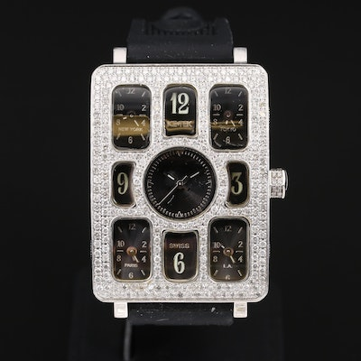 Ice Tek Five Time Zone 2.79 CTW Diamond Wristwatch