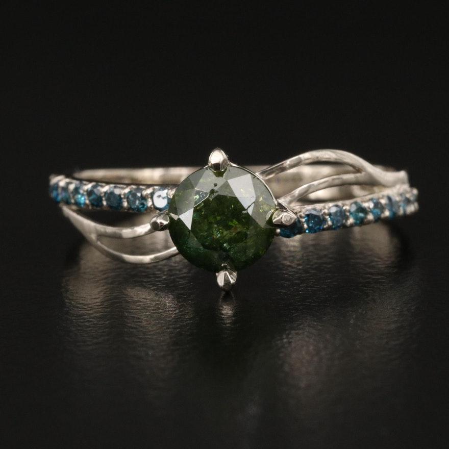 14K 1.03 CTW Diamond Ring with Openwork Shoulders