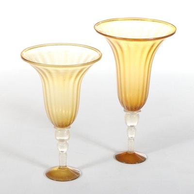 Global Views Venetian Style Amber Art Glass Vases