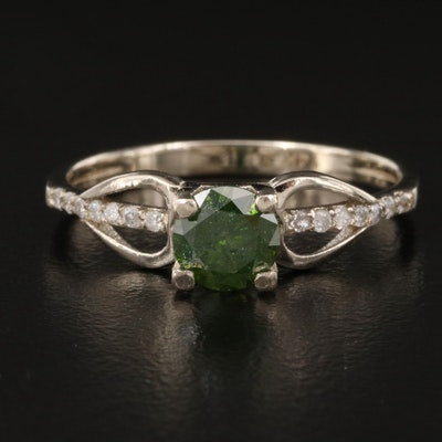 14K Diamond Ring with Openwork Shoulders