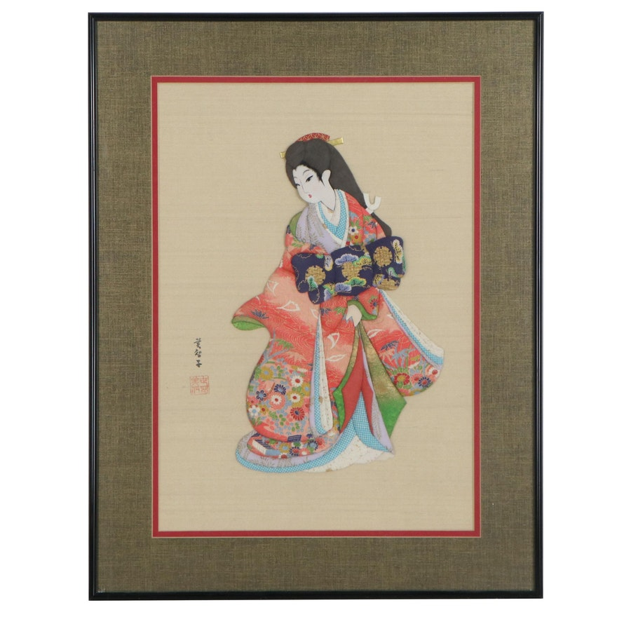 Japanese Chiyogami Paper and Cloth Relief of a Woman
