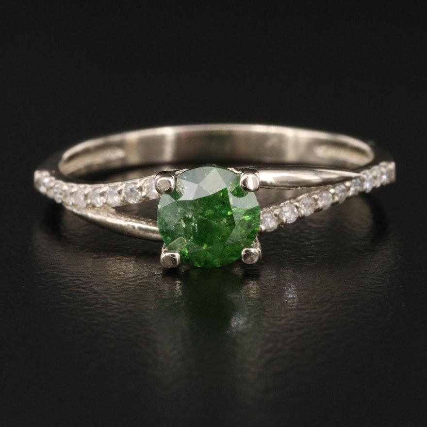 14K Diamond Ring with Split Shoulders