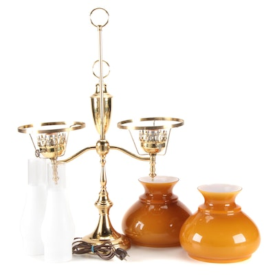 Brass Double Student Lamp with Butterscotch Cased Glass Shades, Mid-20th C