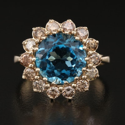 14K Topaz and Brown Diamond Halo Ring