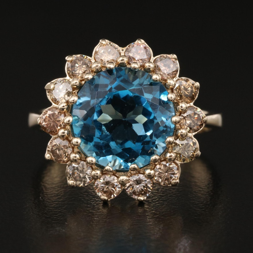 14K Topaz and Brown Diamond Halo Ring