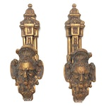 Neoclassical Cast Brass Architectural Salvage Wall Hooks