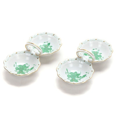 "Herend Green ""Chinese Bouquet"" Porcelain Double Salt Dips"