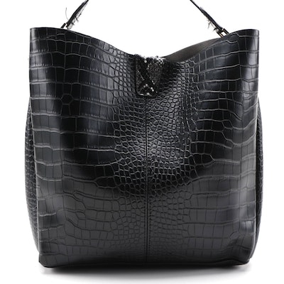 Two-Way Tote Bag in Black Croc-Embossed Faux Leather with Snake Effect Trim