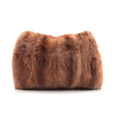 Mink Fur and Smocked Brown Silk Muff