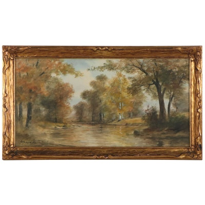 George H. Flavelle Forest Landscape Watercolor Painting