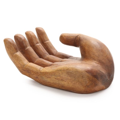 Carved Wooden Sculpture of Open Hand