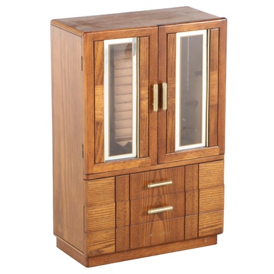 Oak Tabletop Jewelry Armoire, Late 20th Century