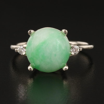 14K Jadeite and DIamond Ring