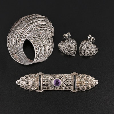Sterling Marcasite Jewelry with Black Onyx and Amethyst Accents