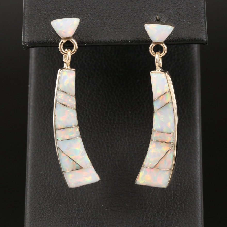14K Opal Inlay Earrings