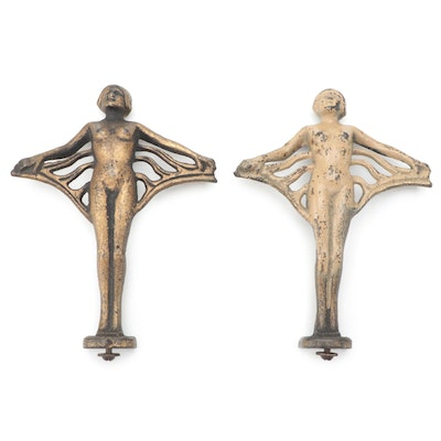Art Deco Cast Metal Nude Figure Hood Ornaments, 1930-1940s