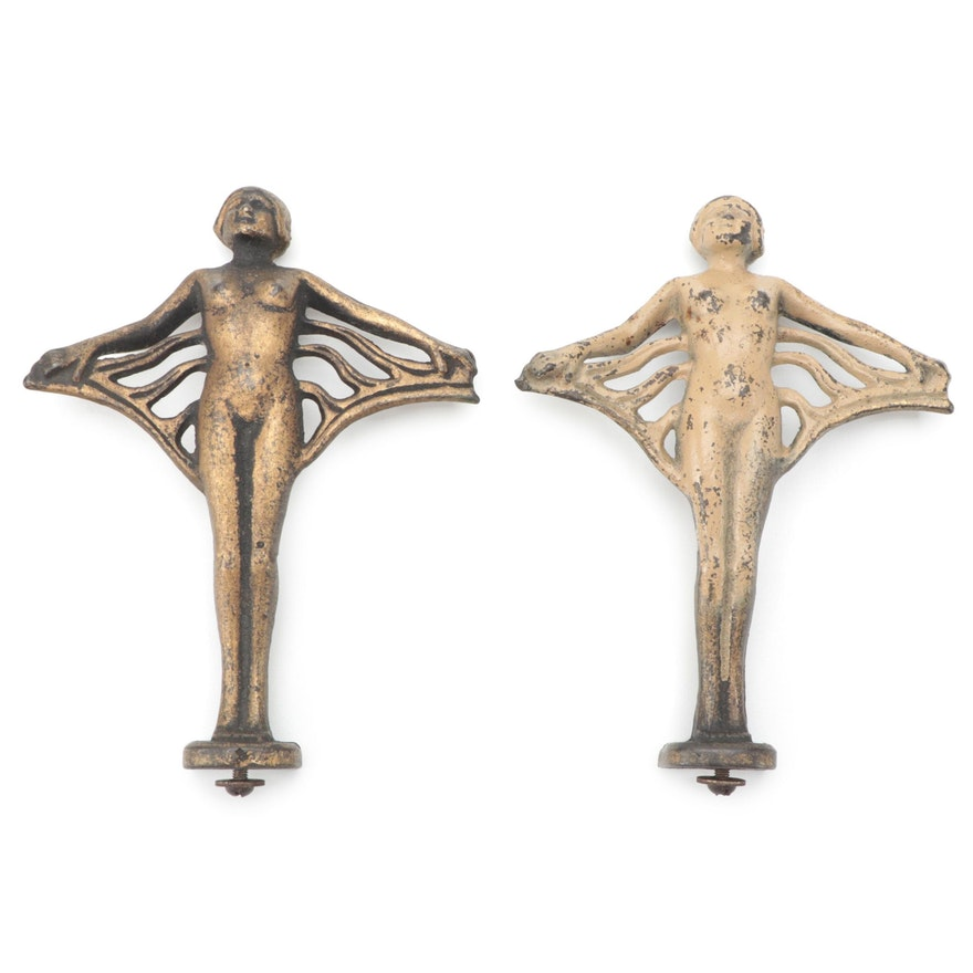 Art Deco Cast Metal Nude Figure Hood Ornaments, 1930-1940s