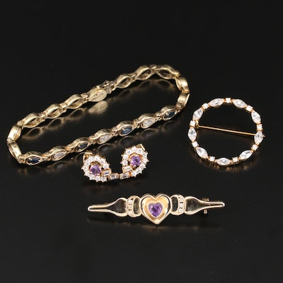 Bracelet, Brooches and Earrings Including Sapphire and Amethyst