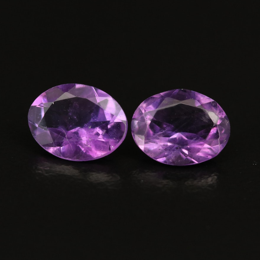 Loose 2.74 CTW Oval Faceted Amethysts
