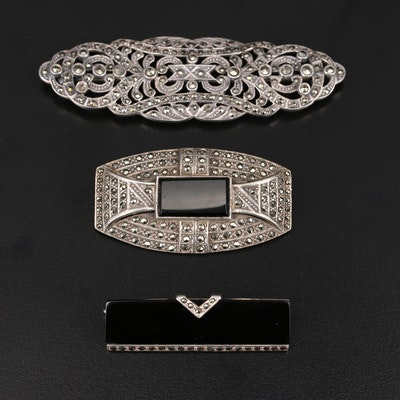 Sterling Brooches Including Black Onyx and Marcasite