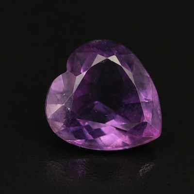 Loose 13.49 CT Heart Faceted Amethyst