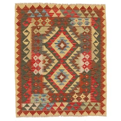 3'2 x 3'11 Handwoven Afghan Kilim Accent Rug