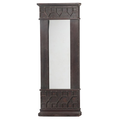 Renaissance Revival Style Stained Wood Tall Wall Mirror