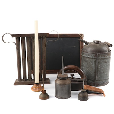 Oil Cans, Corn Shucker, Candle Mold, Sad Iron and More, Late 19th/Early 20th C.