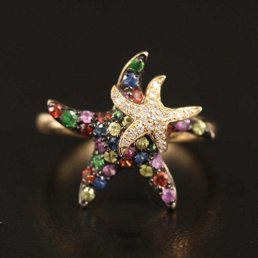 EFFY 14K Sapphire, Tsavorite and Diamond Starfish Ring