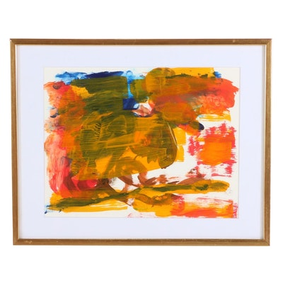 Paul Chidlaw Abstract Acrylic Painting, Mid-Late 20th Century
