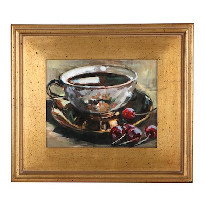 "Adam Deda Still Life Oil Painting ""Cup of Coffee,"" 2020"