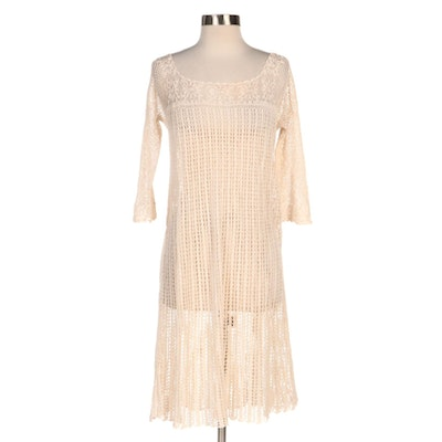 Lim's Crochet Net Cover-Up Dress in Off-White Cotton