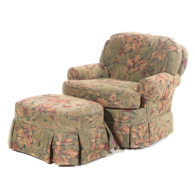 Wesley Hall Upholstered Chair with Ottoman