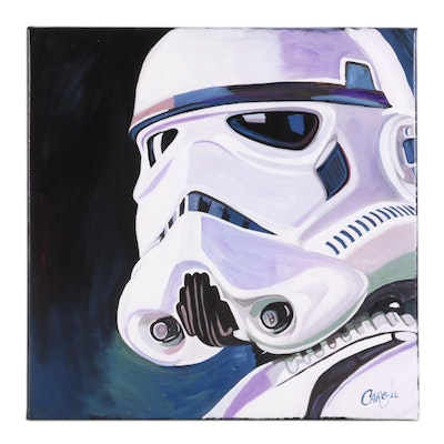 "Chris Cargill Acrylic Painting of ""Star Wars"" Stormtrooper, 21st Century"