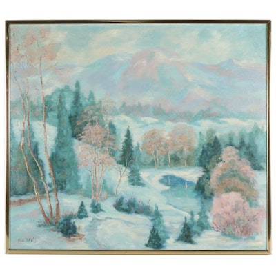 Bea Davis Oil Painting of Mountain Forest Landscape with Pond