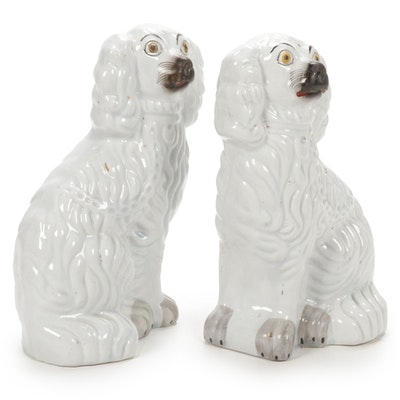 Pair of Staffordshire Style Ceramic Dogs, Early to Mid 20th Century